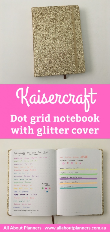 kaisercraft dot grid notebook with glitter cover 5mm spacing bright white paper australian bullet journal under 10 dollars pen testing pros and cons