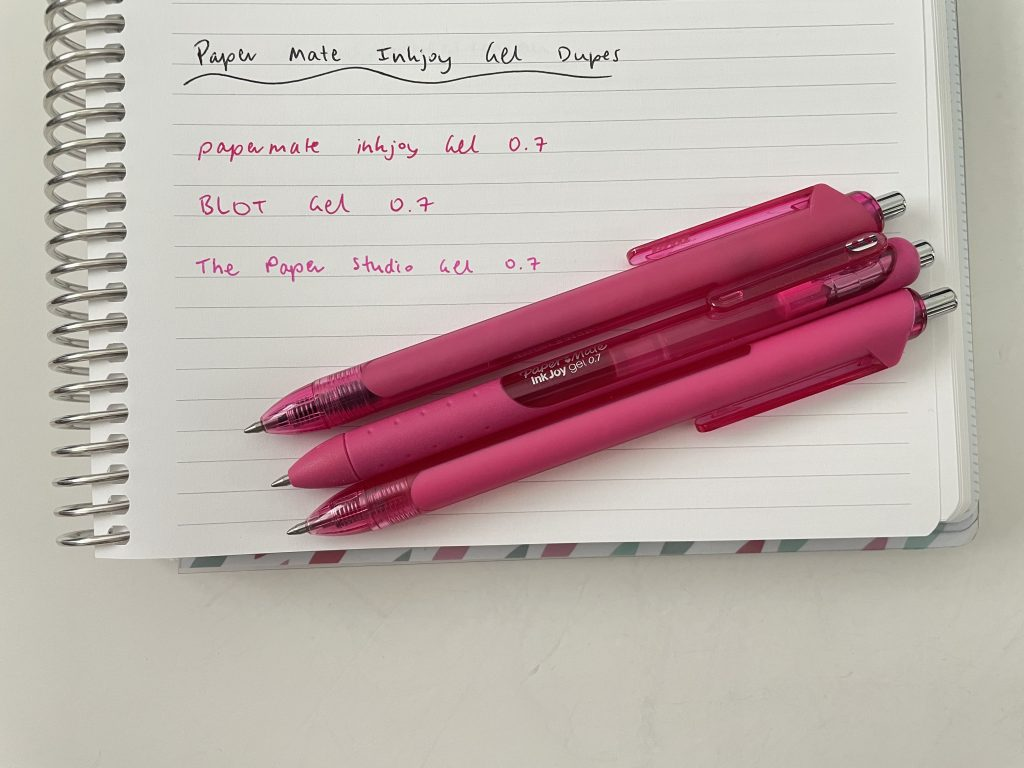 papermate_inkjoy_gel_versus_blot_and_the_paper_studio_dupes_cheaper_alternatives_best_gel_pens_for_planning_0.7mm_rainbow