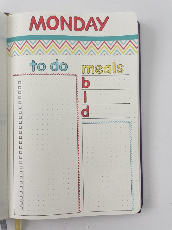bullet journal daily washi tape spread ideas layout simple functional no schedule