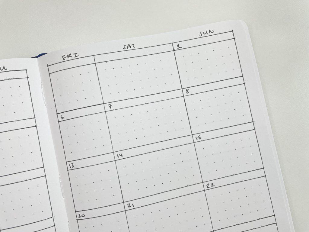 bullet journal monthly calendar larger weekend for side hustle minimalist cheap simple easy bujo-min