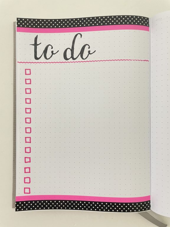 bullet journal washi tape to do list checklist black and pink layering simple quick decorating ideas inspiration