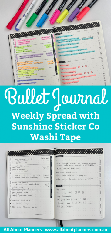 bullet journal weekly spread sunshine sticker co washi tape minimalist quick simple easy black and white theme dashboard