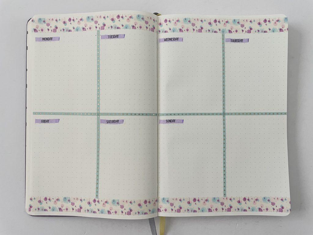 bullet journal weekly spread vertical pastel theme thin washi pattern borders leuchtturm 1917