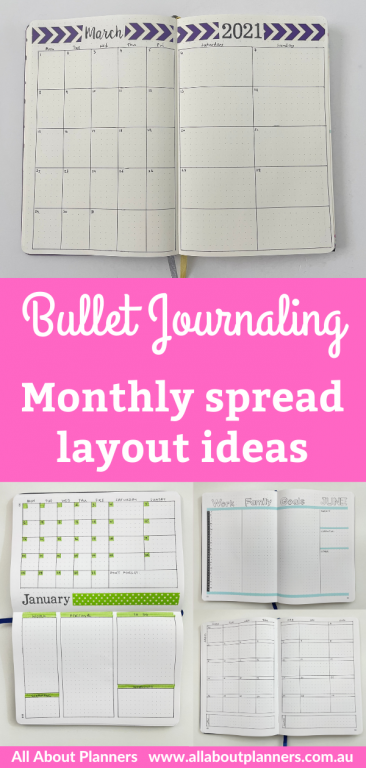 bullet journaling monthly spread layout ideas simple quick easy minimalist bujo 1 page 2 page washi tape colorful vertical