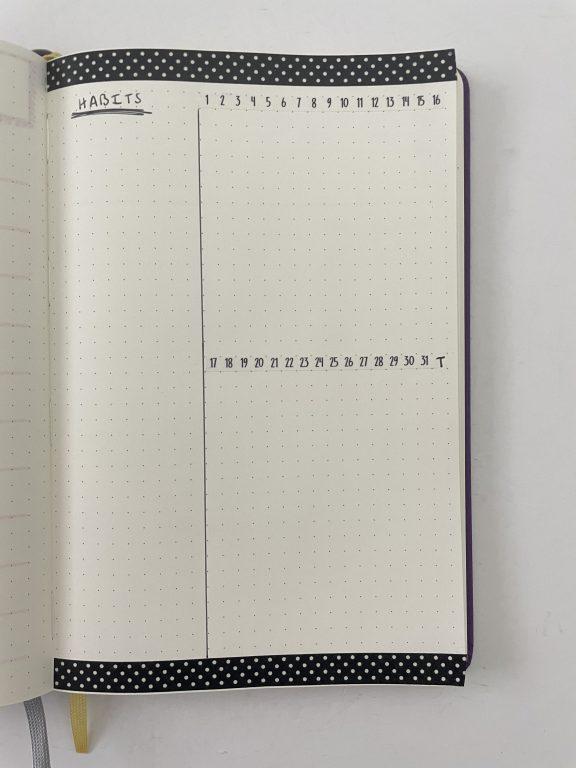 habit tracker washi tape bullet journaling sunshine sticker co horizontal dates monthly polka dot border