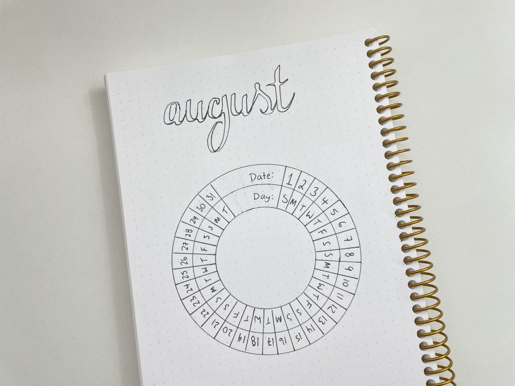 helix circle maker monthly calendar posy paper planner bullet journal unique spread layout ideas tips all about planners tutorial calligraphy stencil