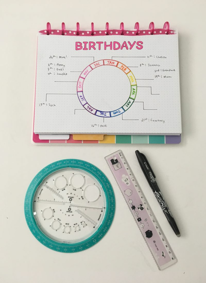 how to use a helix circle maker for bullet journaling step by step tutorial how to draw a perfect circle birthday anniversaries log bujo