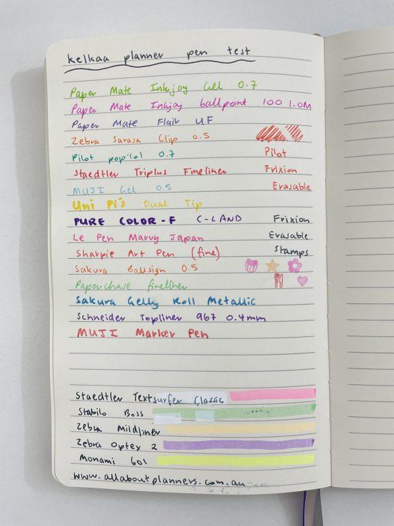 kelkaa planner pen test ghosting bleed through paper quality-min