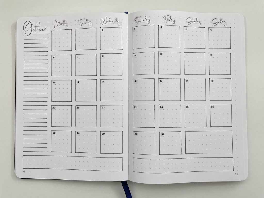 minimalist 2 page monthly calendar spread bullet journal spread layout ideas inspiration tips all about planners bujo for beginner-min