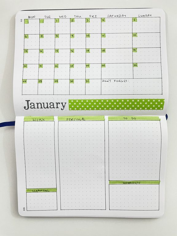 monthly calendar spread bullet journal green theme highlighters washi tape quick simple easy work personal to do workout meal plan categories 1 page calendar-min
