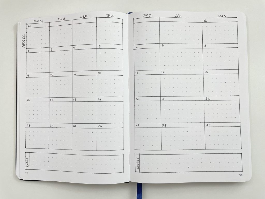 monthly calendar spread layout ideas inspiration monday week start sidebar lined notes otto dot journal australia larger weekend side hustle-min