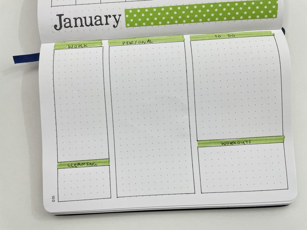 one page monthly calendar bullet journal green theme washi tape highlighters monday week start simple larger weekend monthly planning categorised lists-min