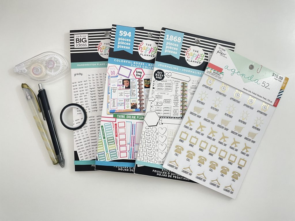 personal planner weekly spread icon stickers black and gold theme simple quick easy