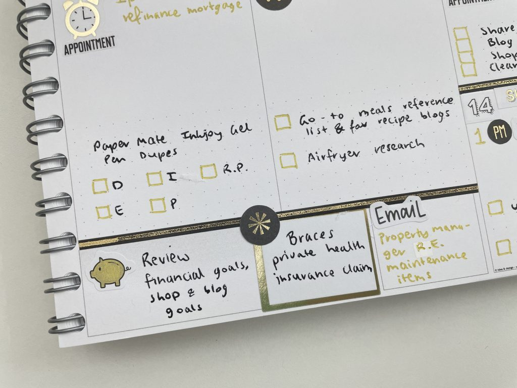 personal planner weekly spread icon stickers black and gold theme simple quick easy notes