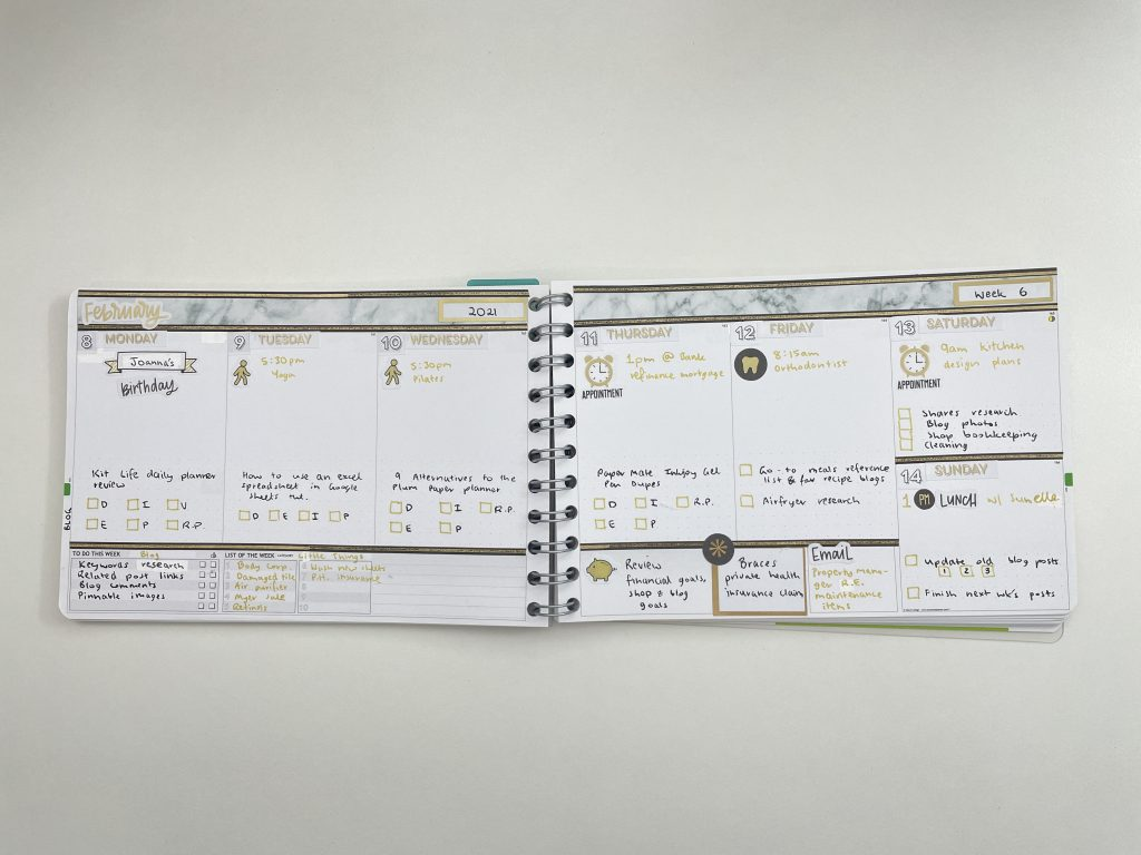 personal planner weekly spread icon stickers black and gold theme simple quick easy notes review