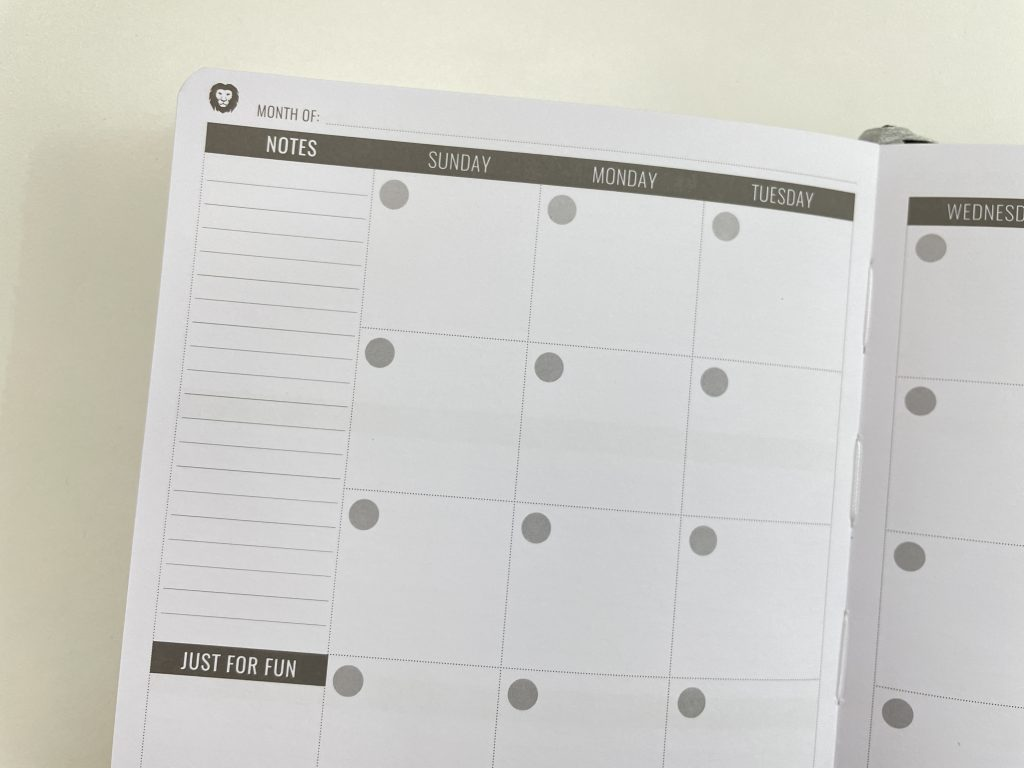 power planner monthly calendar review pros and cons gender neutral minimalist sunday week start