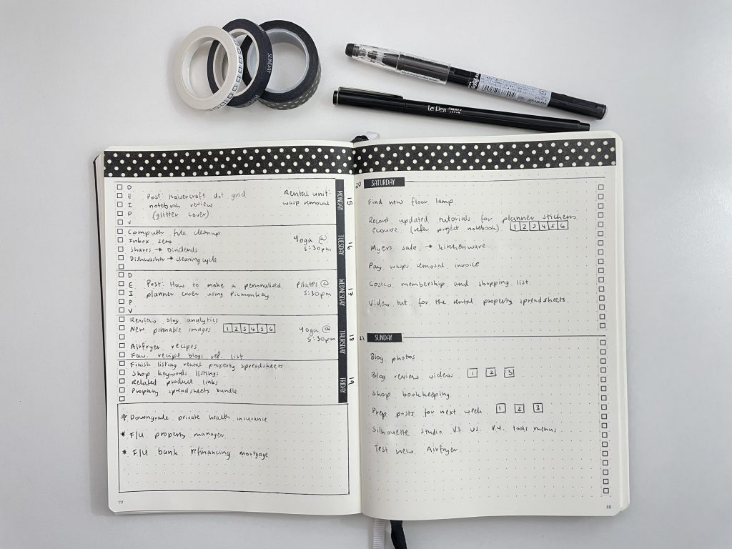 sunshine sticker co washi tape bullet journal weekly spread quick simple easy black and white minimalist theme