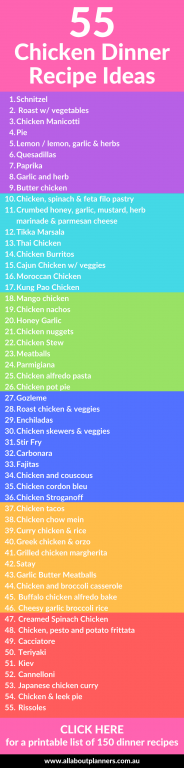 55 chicken dinner recipe ideas printable list quick reference meal planning ideas tips inspiration ideas all about planners