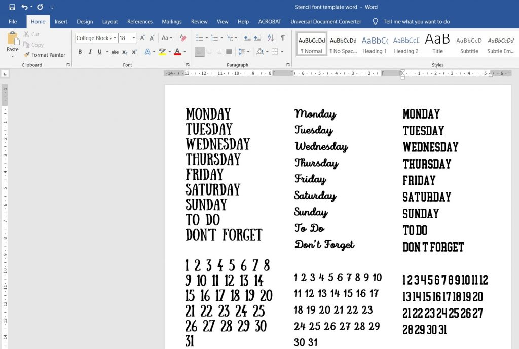 DIY bullet journal stencil fonts microsoft word quikc bujo hacks simple easy affordable