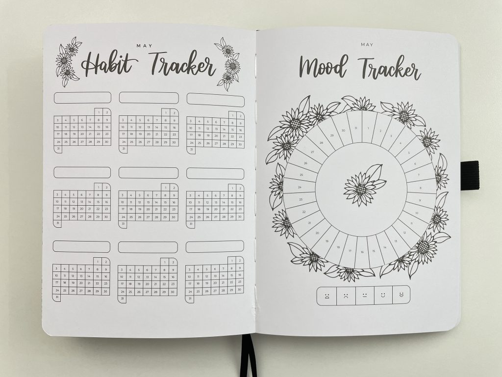 amanda rach lee doodle planner review habit tracker mood monthly spread adult coloring bright white paper 5mm dot grid themed