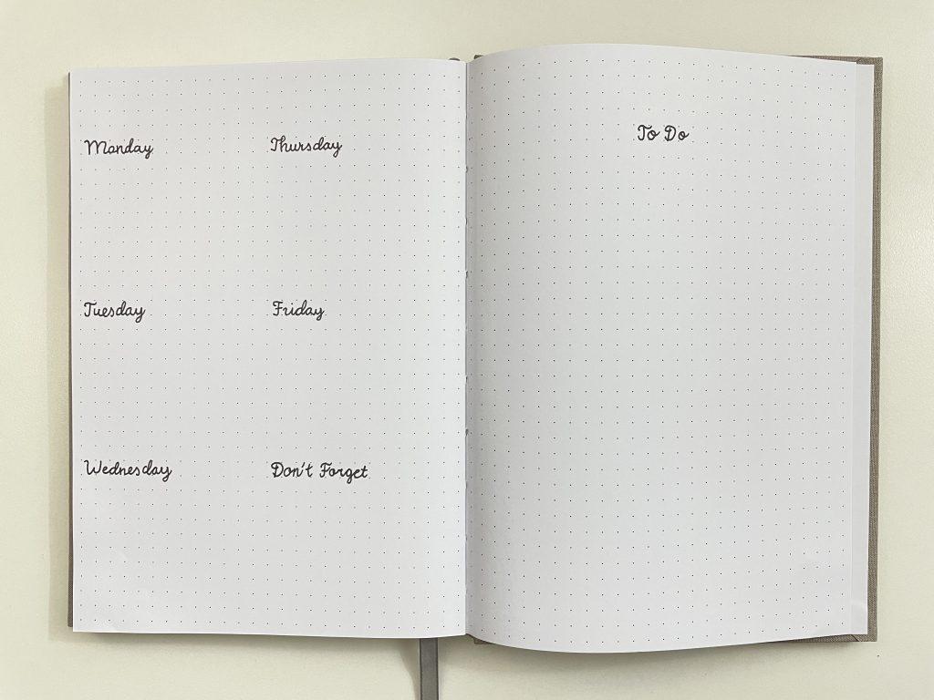 minimalist bullet journal spread using a diy planner or bullet journal stencil