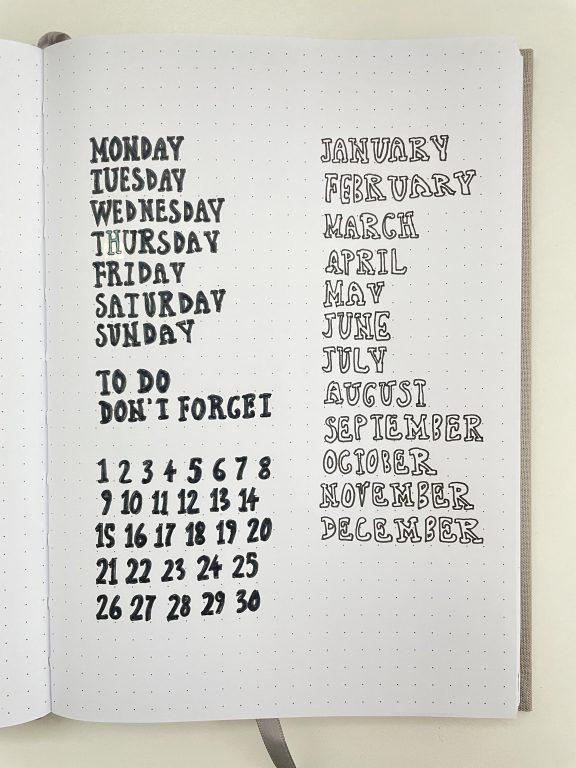 minimalist bullet journal spread using a diy planner or bullet journal stencil sans serif cursive best fonts for making your own stencils