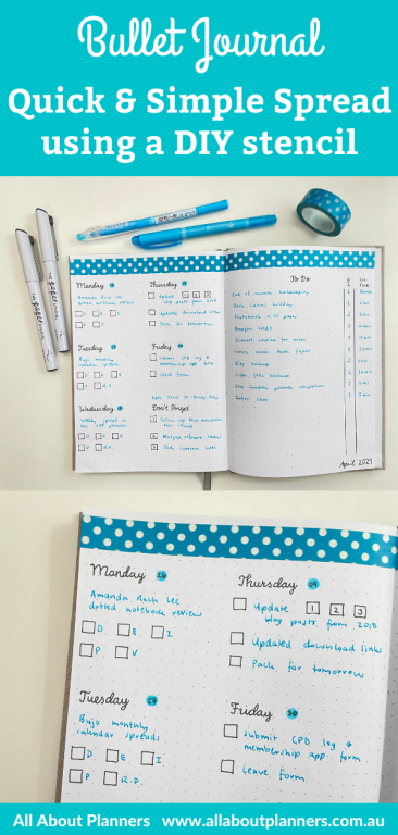 weekly spread bullet journal quick simple black and blue theme diy stencil tombow dot marker