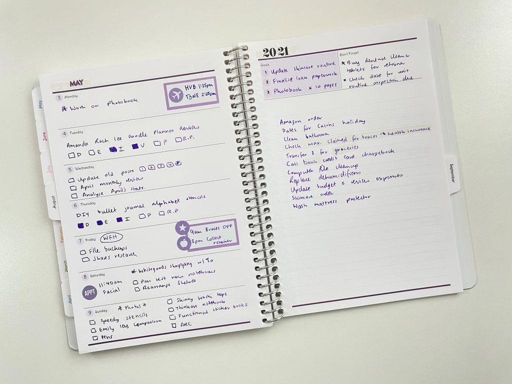 agendio a5 custom planner review all about planners purple theme quick easy simple happy planner colorful boxes carpe diem icon stickers dashboard layout horizonal weekly 1 page