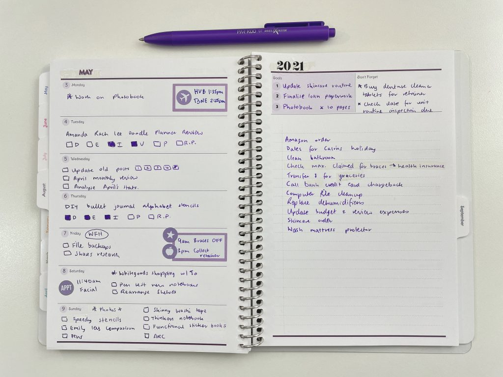 agendio a5 custom planner review purple weekly spread horizontal weekly 1 page goals checklist is agendio worth the money