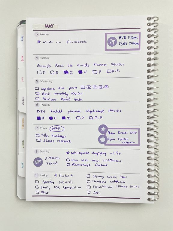 agendio custom a5 weekly planner purple theme all about planners happy planner stickers carpe diem icons functional