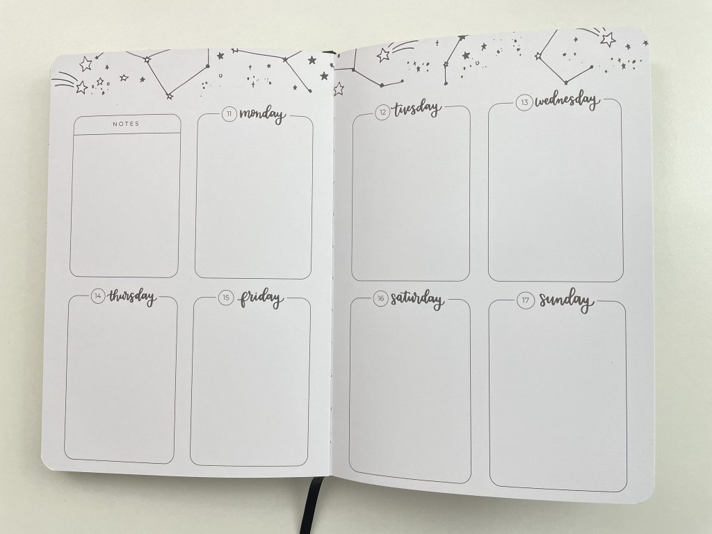 amanda rach lee doodle planner review weekly spread pros and cons themed hybrid bullet journal planner bujo video flipthrough