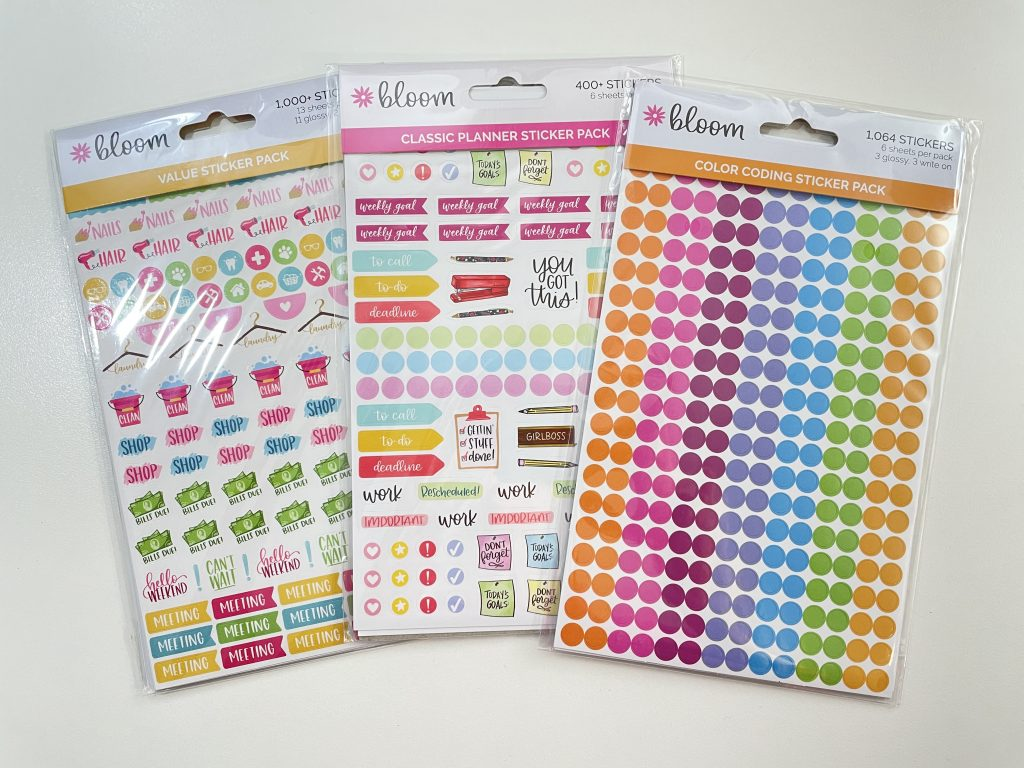 bloom planner stickers review functional icons budgeting cleaning appointments colored dot stickers
