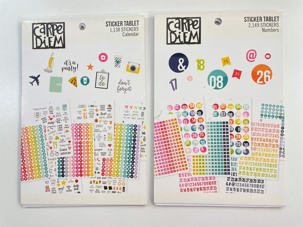 carpe diem calendar sticker tablet book numbers functional icons recommended supplies rainbow dates affordable planning essentials-min
