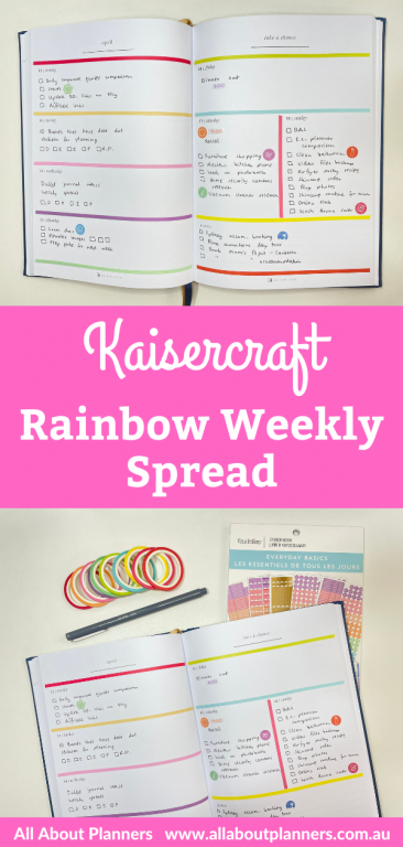 kaisercraft rainbow weekly spread washi tape minimalist quick simple easy all about planners