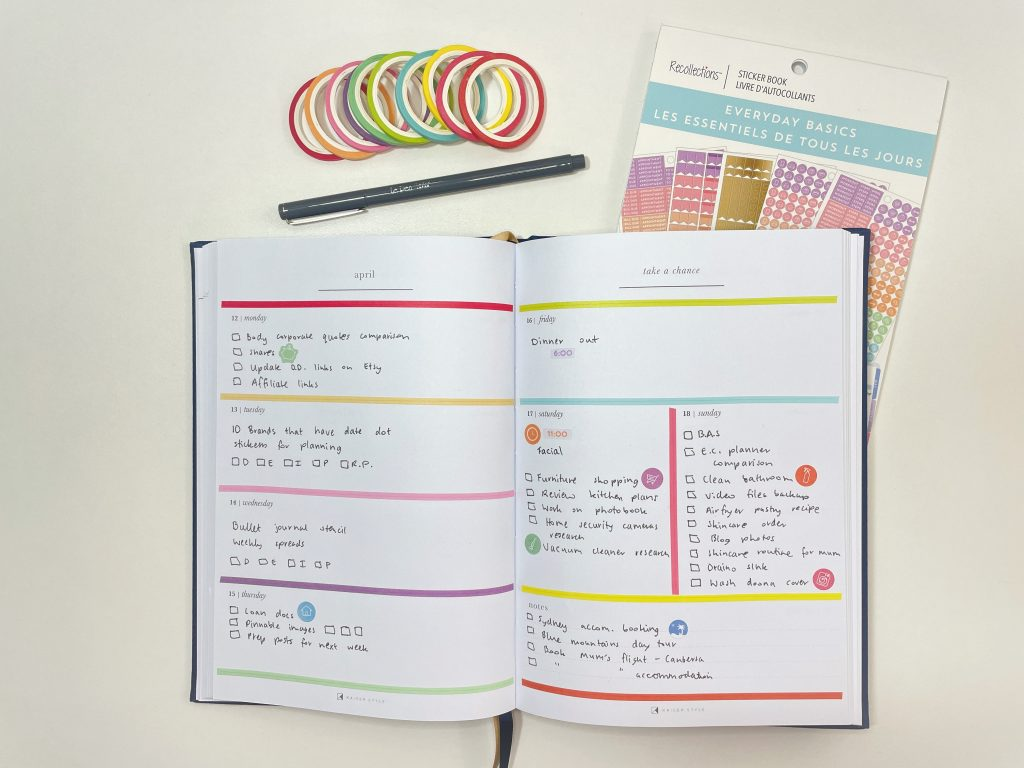 kaisercraft weekly spread rainbow washi tape skinny colorful quick easy recollections everyday icons review