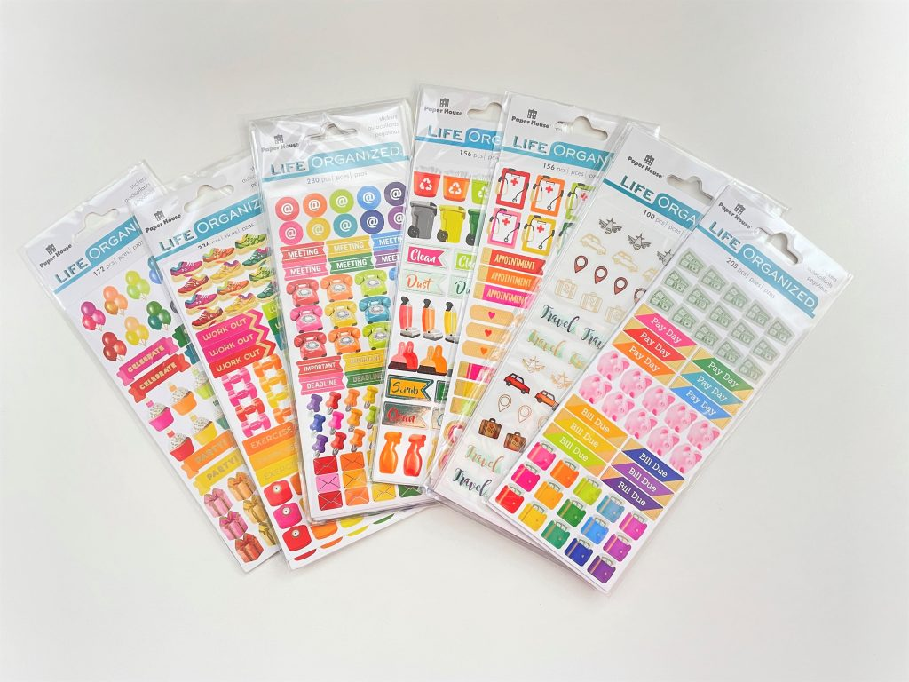 life organized planner stickers review functional rainbow icons home cleaning budgeting bin day cute sticker pack appointment meeting health fitness-min
