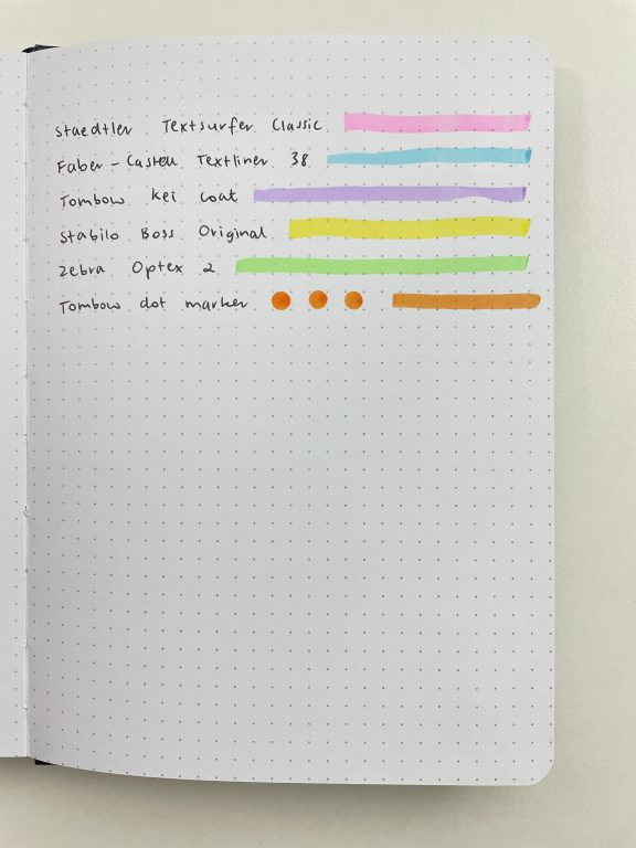 paper studio agenda 52 bullet journal notebook 5mm dot grid bright white pages hobby lobby highlighters dot markers test ghosting pros and cons paper quality