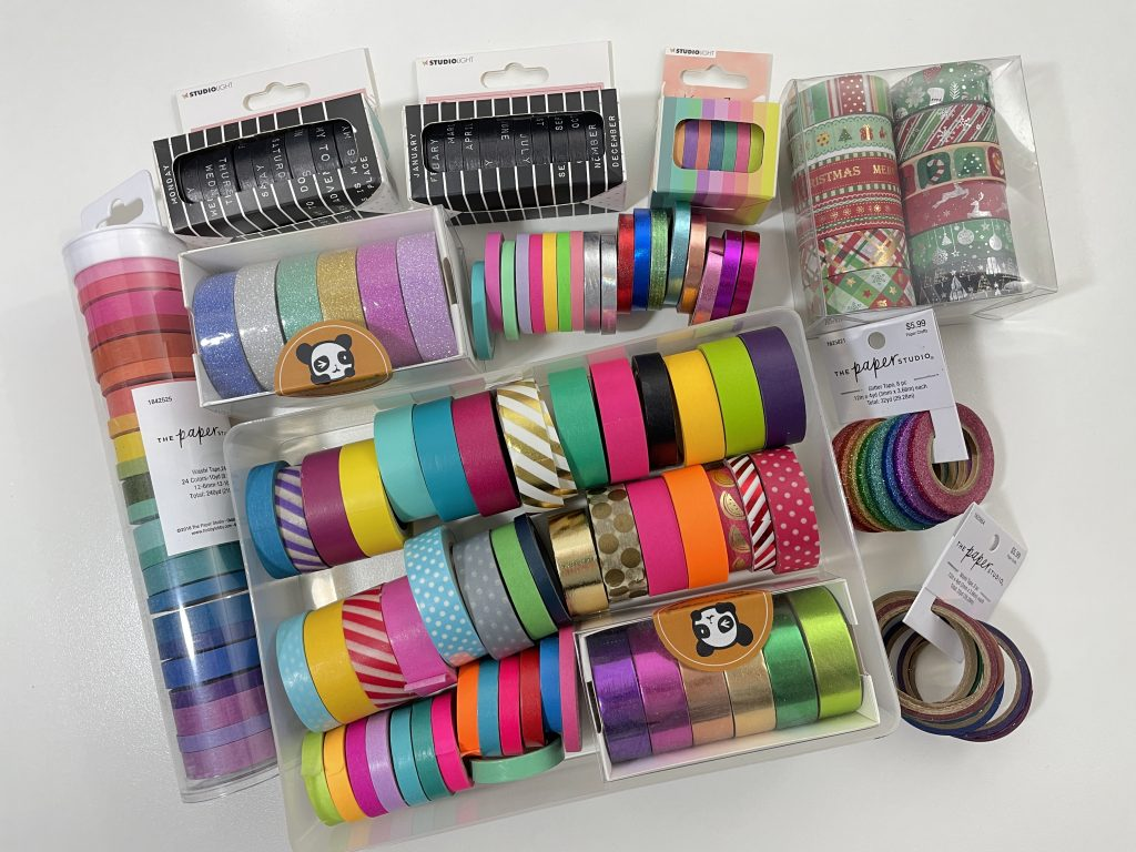 favorite washi tape glitter functional days of the weeks rainbow skinny 3mm 5mm 15mm paper studio foil recollections acrylic drawers