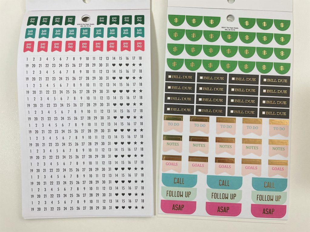 functional sticker books the paper studio agenda 52 budgeting calendar decorative foil reminder labels bill due savings