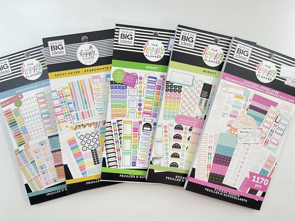 happy planner budget sticker books favorite recommendations bill due spending pay day savings colorful tracker functional sidebar icons