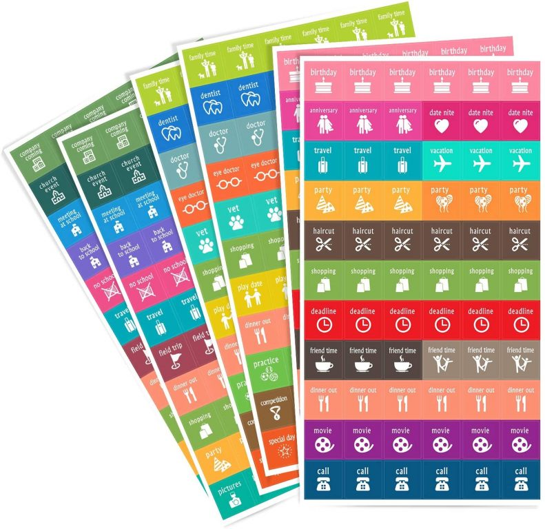 homework2 functional icon stickers planner supplies bullet journaling rainbow travel daily task appointment reminder