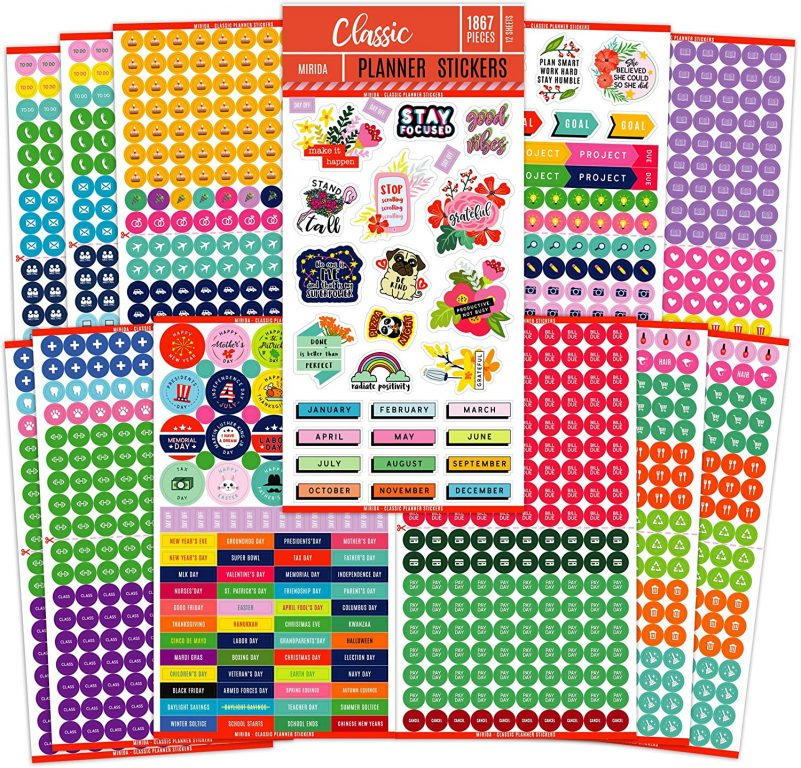 mirida planner stickers amazon functional icons all about planners recommendations bullet journaling rainbow