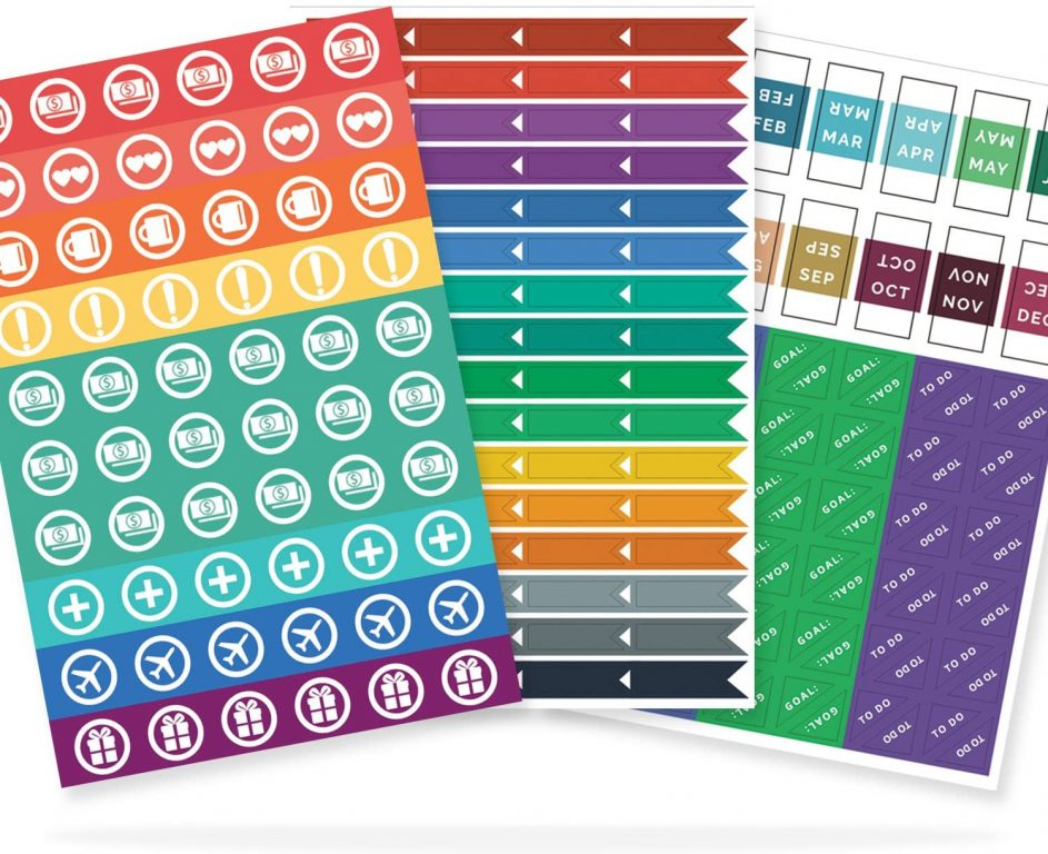 papercode planner stickers functional rainbow simple elephant icons flags month tab stickers for bullet journaling
