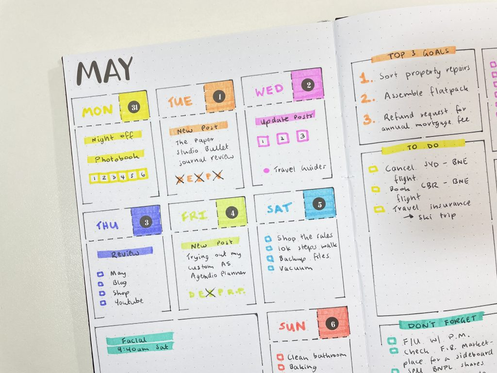 speedy stencils bullet journal weekly spread quick easy highlighters categorised to do lists zebra mildliners