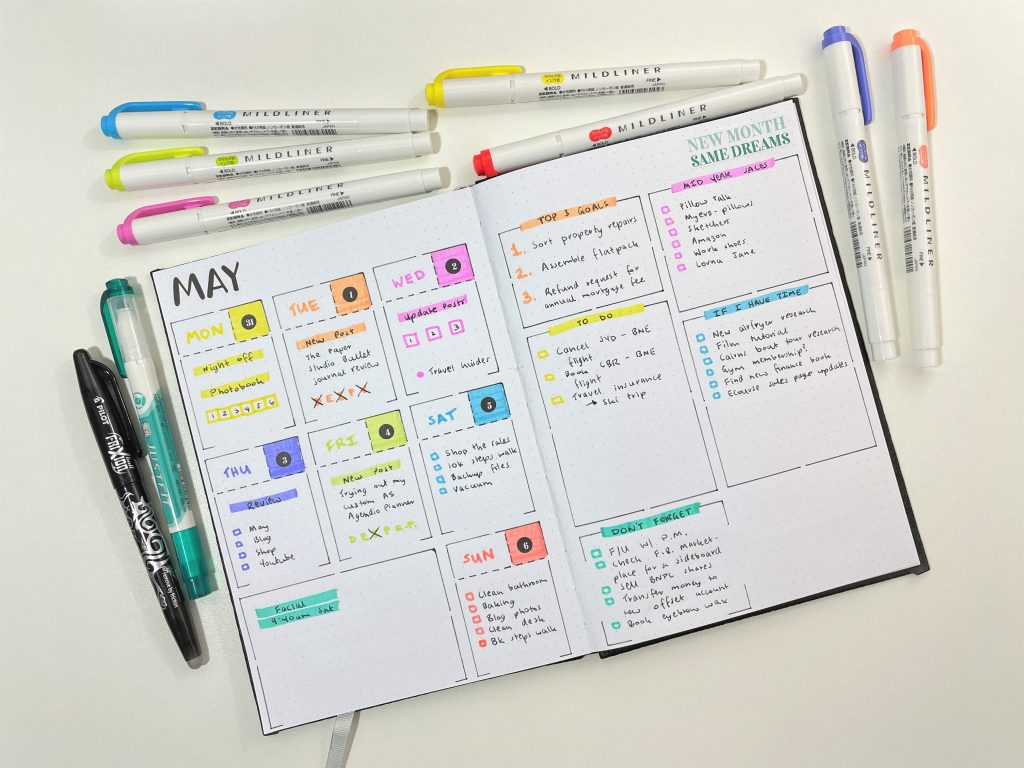 speedy stencils weekly spread bullet journaling rainbow monday week start dashboard categorised to do lists highlighters quick simple minimalist