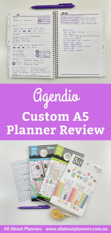 trying out my custom a5 agendio weekly planner review pros and cons tips how to make your own custom planner diary purple themed spread
