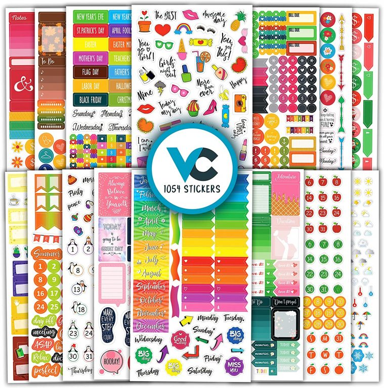 vladi creative store functional planner stickers rainbow days of the week labels icons budget date numbers