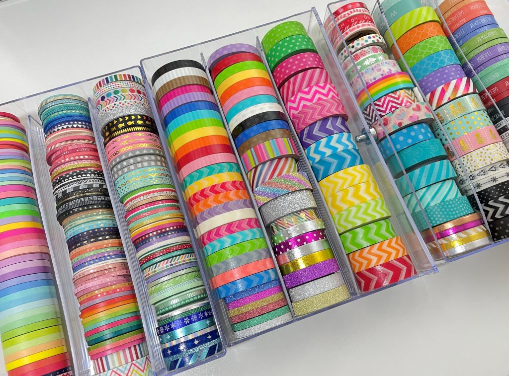 washi tape collection rainbow thin skinny washi tape chevron polka dots doodlebug carefully crafted recollections drawers how to store washi haul 3mm 5mm 15mm