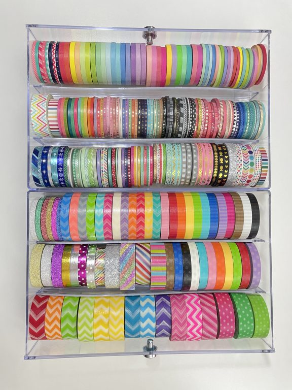 washi tape collection skinny rainbow 3mm 5mm 15mm chevron polka dot stripes how to store washi tape recollections acrylic drawers