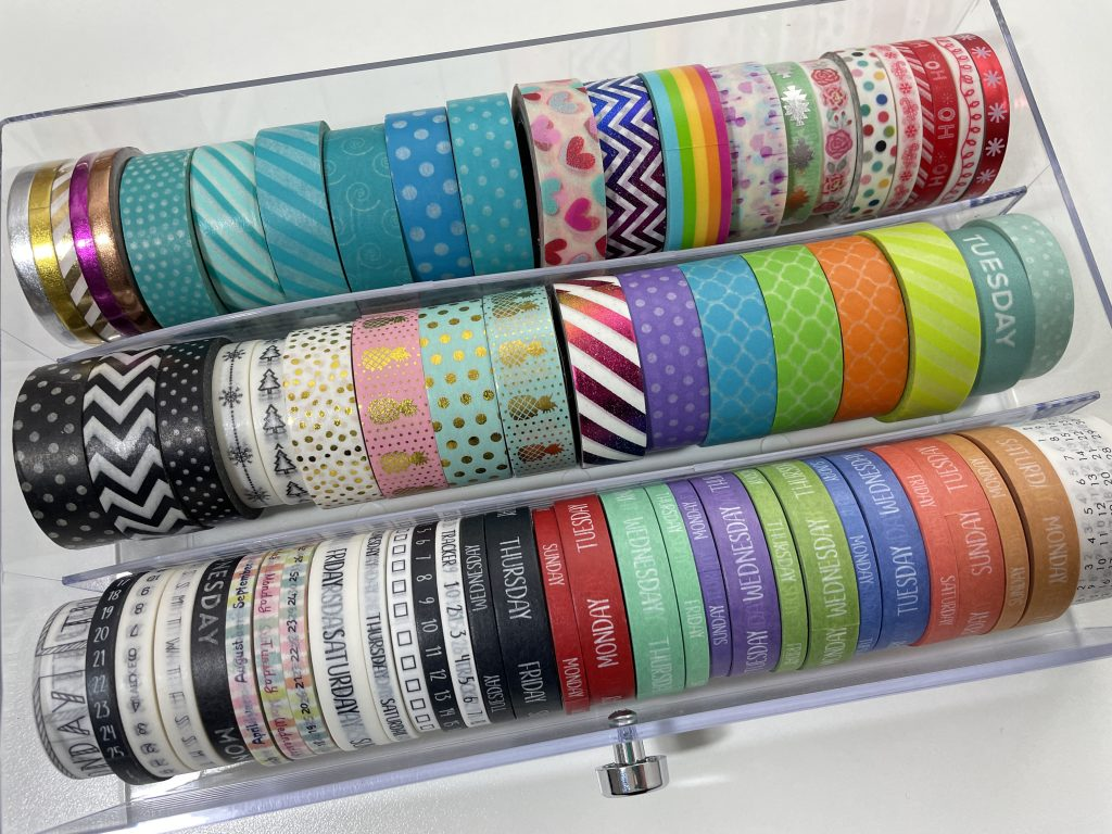 washi tape collection tour favorite functional skinny washi tape sunshine sticker co rainbow patterns foil days of the week 3mm 5mm 15mm recollections acrylic drawers